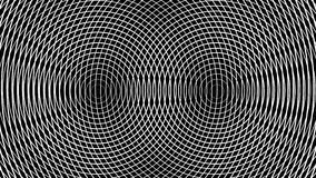 Abstracción geométrica de los anillos blancos que mueven encendido un fondo negro stock de ilustración