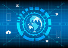 Abstrack background  world digital technology. World map circle network internet mobile cloud technology on blue background Stock Photo