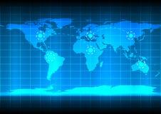Abstrack background world map communication technology. World map communication network technology on blue background royalty free illustration