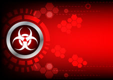 Abstrack  bio hazard technology on red color background. Bio hazard symbol button and hexagon on dark red background Royalty Free Stock Photography