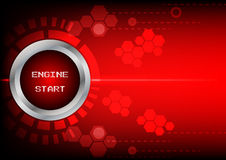 Abstrack button engine start technology on red background Stock Image