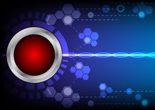 Abstrack button red technology and light effect on blue backgrou. Button red technology and ligth effect on blue background Royalty Free Stock Photography