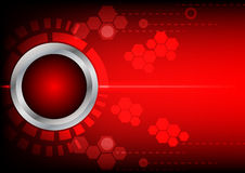 Abstrack button red technology and light  on red background Royalty Free Stock Images