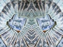 Abstrack pengar med hundratals i mellersta Surronded med tjugotal Arkivbild