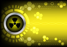 Abstrack  radioactive technology on yellow color background. Radioactive technology on yellow color background Royalty Free Stock Photography