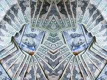 Abstrackgeld met Honderden in Middensurronded met Jaren '20 Stock Fotografie