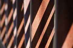 Abstract � Diagonal Shadow Pattern on Rusty Bridge Royalty Free Stock Images