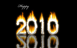 Abstract 2010 year. With flames Vector Illustration