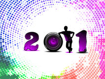 Abstract 2011. Concept with colorful background with circle Stock Photos