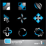 Abstract 2D Elements - Set 1a. Elements for Design - 9 Abstract 2D Pieces - Set 1a vector illustration