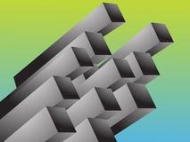 Abstract 3d. Geometric rectangular cluster shape illustration Stock Photos