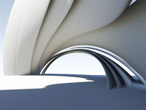 Abstract 3D arch. Illustration of white futuristic architecture form Royalty Free Stock Images