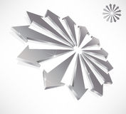 Abstract 3d arrows. Silver abstract 3d arrows symbolic of business team stock illustration