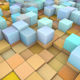 Abstract 3d backdrop in orange blue. Abstract 3d cubes backdrop in orange yellow and blue stock illustration