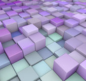 Abstract 3d backdrop in purple blue. Abstract 3d cubes backdrop in purple blue Royalty Free Stock Images