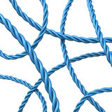Abstract 3d background - blue ropes. Abstract 3d background of navy blue strand rope on white background Royalty Free Stock Photos