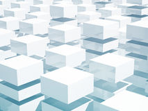 Abstract 3d background with white boxes. Abstract 3d background with array of blue and white boxes vector illustration