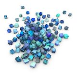 Abstract 3d blue cubic shape. On white Stock Illustration
