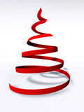Abstract 3d christmas tree. Abstract red christmas tree with shadow, 3D render Stock Image