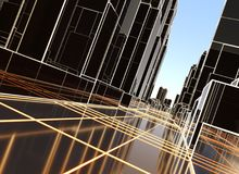 Abstract 3D city with luminous lines Royalty Free Stock Photos