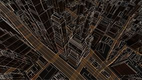Abstract 3D city with luminous lines Stock Photography