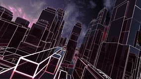 Abstract 3D city with luminous lines Royalty Free Stock Images