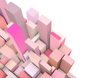 Abstract 3d composition with pink shapes. Abstract 3d composition with pink rectangular shapes on white stock illustration