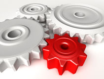 Abstract 3D concept of gear wheels Stock Photography