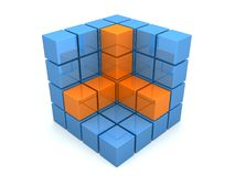 Abstract 3d cube. 3d rendered illustration from a part of a blue and orange cube Stock Photo