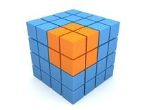 Abstract 3d cube. 3d rendered illustration of a blue and orange cube vector illustration