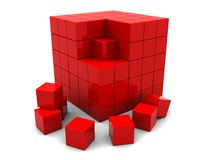 Abstract 3d cube. 3d illustration of red cube built from blocks vector illustration