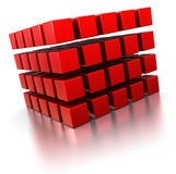 Abstract 3d cubes. Abstract 3d illustration of red cubes over white background royalty free illustration