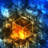 Abstract 3d cubes in technology style. Royalty Free Stock Images