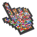 Abstract 3d cursor. With flags of the world Royalty Free Stock Images