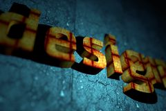 Abstract 3D Design. Theme with DOF (Depth of Field) Orange-Red Letters Texture and Blue Cracked Stone Like Background Royalty Free Stock Photos