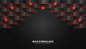 Free Abstract 3d Fold Paper Geometric Pattern Luxury Dark Black With Red Shiny Light Stock Photography - 131213342