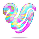Abstract 3D heart. Abstract bright multicolor glowing 3D heart. Vector EPS10 stock illustration