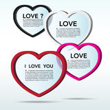 Abstract 3D heart speech bubble background. Eps10 stock illustration