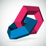 Abstract 3d hexagon background. Abstract 3d background with blue and red hexagons stock illustration