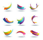 Abstract 3d icon set with colorful ribbon elements. On background vector illustration