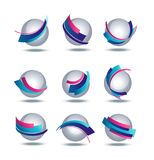 Abstract 3d icon set with colorful stripes. On background Stock Photos