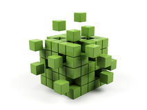 Abstract 3d illustration. Of cube assembling from blocks Royalty Free Stock Photography