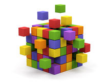 Abstract 3d illustration. Of cube assembling from blocks Royalty Free Stock Photos