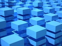 Abstract 3d illustration with blue boxes. Abstract 3d illustration with array of blue and white boxes Royalty Free Stock Photo