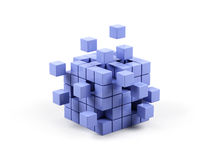Abstract 3d illustration of cube. Abstract 3d illustration of cube assembling from blocks Royalty Free Stock Photo