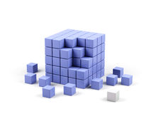 Abstract 3d illustration of cube. Abstract 3d illustration of cube assembling from blocks Royalty Free Stock Image