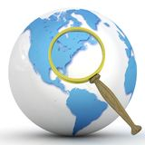 Abstract 3d illustration of earth globe. (Europe) with magnify glass Royalty Free Stock Photo
