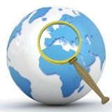 Abstract 3d illustration of earth globe. (Europe) with magnify glass Royalty Free Stock Photos