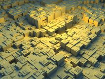Abstract 3d illustration of a futuristic city. With yellow light Stock Images