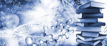 Free Abstract  3d Image Of A DNA Chain And Stack Of Books On A Blurry Background Close-up. Stock Photos - 159819233